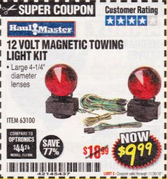 Harbor Freight Coupon 12 VOLT MAGNETIC TOWING LIGHT KIT Lot No. 62517/62753/67455/69626/69925/63100 Expired: 11/30/18 - $9.99
