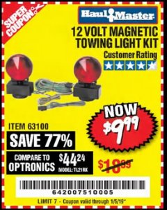 Harbor Freight Coupon 12 VOLT MAGNETIC TOWING LIGHT KIT Lot No. 62517/62753/67455/69626/69925/63100 Expired: 1/5/19 - $9.99