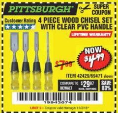Harbor Freight Coupon 4 PIECE WOOD CHISEL SET Lot No. 42429/69471 Expired: 11/3/18 - $4.99