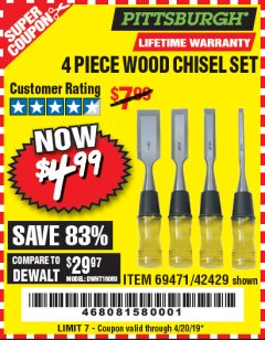 Harbor Freight Coupon 4 PIECE WOOD CHISEL SET Lot No. 42429/69471 Expired: 4/20/19 - $4.99