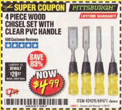 Harbor Freight Coupon 4 PIECE WOOD CHISEL SET Lot No. 42429/69471 Expired: 11/30/19 - $4.99