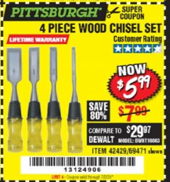 Harbor Freight Coupon 4 PIECE WOOD CHISEL SET Lot No. 42429/69471 Valid: 5/5/20 - 7/2/20 - $5.99