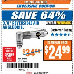 "Harbor Freight ITC Coupon 3/8"" REVERSIBLE AIR ANGLE DRILL Lot No. 67474/69495 Expired: 5/8/18 - $24.99"