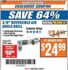 "Harbor Freight ITC Coupon 3/8"" REVERSIBLE AIR ANGLE DRILL Lot No. 67474/69495 Expired: 11/6/18 - $24.99"
