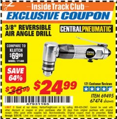 "Harbor Freight ITC Coupon 3/8"" REVERSIBLE AIR ANGLE DRILL Lot No. 67474/69495 Dates Valid: 5/3/19 - 5/31/19 - $24.99"