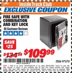Harbor Freight ITC Coupon FIRESAFE WITH COMBINATION AND KEY LOCK Lot No. 97570 Dates Valid: 12/31/69 - 5/31/19 - $109.99