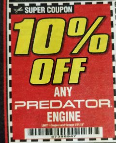 Harbor Freight Coupon 10 percent off coupon expires: 5/30/19