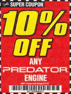 Harbor Freight Coupon 10 percent off coupon expires: 5/31/19