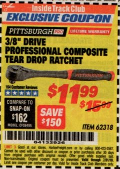 "Harbor Freight ITC Coupon 3/8"" DRIVE PROFESSIONAL COMPOSITE TEAR DROP RATCHET Lot No. 62318 Expired: 7/31/19 - $11.99"