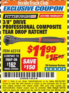 "Harbor Freight ITC Coupon 3/8"" DRIVE PROFESSIONAL COMPOSITE TEAR DROP RATCHET Lot No. 62318 Expired: 8/31/19 - $11.99"