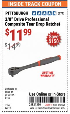 "Harbor Freight ITC Coupon 3/8"" DRIVE PROFESSIONAL COMPOSITE TEAR DROP RATCHET Lot No. 62318 Expired: 8/31/20 - $11.99"