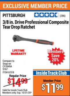 "Harbor Freight ITC Coupon 3/8"" DRIVE PROFESSIONAL COMPOSITE TEAR DROP RATCHET Lot No. 62318 Expired: 10/31/20 - $11.99"