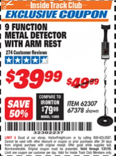 Harbor Freight ITC Coupon 9 FUNCTION METAL DETECTOR WITH ARM REST Lot No. 62307/67378 Expired: 1/31/19 - $39.99