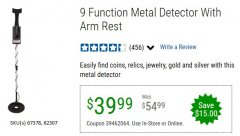 Harbor Freight Coupon 9 FUNCTION METAL DETECTOR WITH ARM REST Lot No. 62307/67378 EXPIRES: 6/30/20 - $39.99