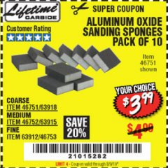 Harbor Freight Coupon ALUMINUM OXIDE SANDING SPONGES PACK OF 10 Lot No. 46751/46752/46753 EXPIRES: 5/31/19 - $3.99