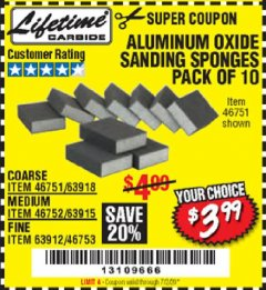 Harbor Freight Coupon ALUMINUM OXIDE SANDING SPONGES PACK OF 10 Lot No. 46751/46752/46753 EXPIRES: 7/2/20 - $3.99