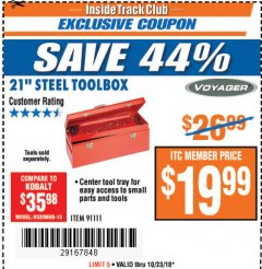 "Harbor Freight ITC Coupon 21"" STEEL TOOLBOX Lot No. 91111 Expired: 10/23/18 - $19.99"