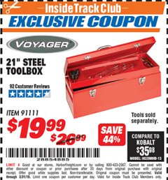 "Harbor Freight ITC Coupon 21"" STEEL TOOLBOX Lot No. 91111 Expired: 3/31/19 - $19.99"