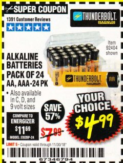 Harbor Freight Coupon ALKALINE BATTERIES Lot No. 92405/61270/92404/69568/61271/92406/61272/92407/61279/92408 Expired: 11/30/18 - $4.99