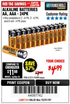 Harbor Freight Coupon ALKALINE BATTERIES Lot No. 92405/61270/92404/69568/61271/92406/61272/92407/61279/92408 Expired: 12/31/18 - $4.99
