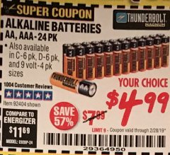 Harbor Freight Coupon ALKALINE BATTERIES Lot No. 92405/61270/92404/69568/61271/92406/61272/92407/61279/92408 Expired: 2/28/19 - $4.99