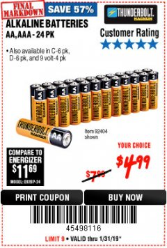 Harbor Freight Coupon ALKALINE BATTERIES Lot No. 92405/61270/92404/69568/61271/92406/61272/92407/61279/92408 Expired: 1/31/19 - $4.99