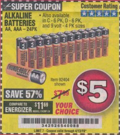 Harbor Freight Coupon ALKALINE BATTERIES Lot No. 92405/61270/92404/69568/61271/92406/61272/92407/61279/92408 Expired: 4/13/19 - $5