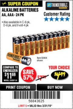 Harbor Freight Coupon ALKALINE BATTERIES Lot No. 92405/61270/92404/69568/61271/92406/61272/92407/61279/92408 Expired: 3/31/19 - $4.99