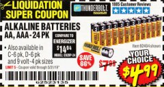 Harbor Freight Coupon ALKALINE BATTERIES Lot No. 92405/61270/92404/69568/61271/92406/61272/92407/61279/92408 Valid Thru: 5/31/19 - $4.99