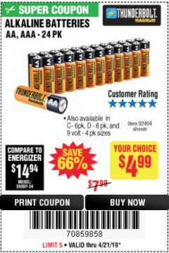 Harbor Freight Coupon ALKALINE BATTERIES Lot No. 92405/61270/92404/69568/61271/92406/61272/92407/61279/92408 Valid Thru: 4/21/19 - $4.99
