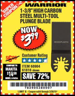 "Harbor Freight Coupon 1-3/8"" HIGH CARBON STEEL MULTI-TOOL PLUNGE BLADE Lot No. 61816/68904 Expired: 3/30/19 - $3.99"