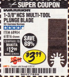 "Harbor Freight Coupon 1-3/8"" HIGH CARBON STEEL MULTI-TOOL PLUNGE BLADE Lot No. 61816/68904 Expired: 6/30/19 - $3.99"