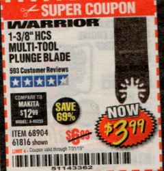 "Harbor Freight Coupon 1-3/8"" HIGH CARBON STEEL MULTI-TOOL PLUNGE BLADE Lot No. 61816/68904 Expired: 7/31/19 - $3.99"