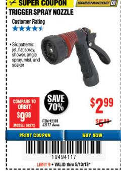 Harbor Freight Coupon TRIGGER SPRAY NOZZLE Lot No. 62177/92398 Expired: 5/13/18 - $2.99