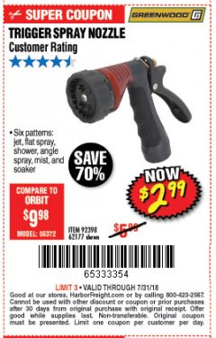 Harbor Freight Coupon TRIGGER SPRAY NOZZLE Lot No. 62177/92398 Expired: 7/31/18 - $2.99