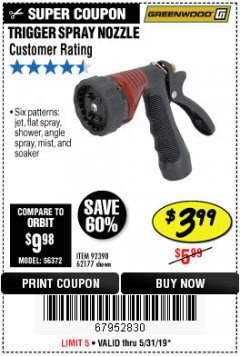 Harbor Freight Coupon TRIGGER SPRAY NOZZLE Lot No. 62177/92398 EXPIRES: 5/31/19 - $3.99