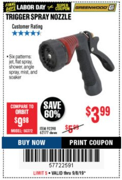 Harbor Freight Coupon TRIGGER SPRAY NOZZLE Lot No. 62177/92398 Expired: 9/8/19 - $3.99
