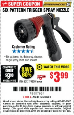 Harbor Freight Coupon TRIGGER SPRAY NOZZLE Lot No. 62177/92398 Expired: 3/8/20 - $3.99