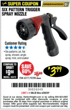 Harbor Freight Coupon TRIGGER SPRAY NOZZLE Lot No. 62177/92398 Valid Thru: 6/30/20 - $3.99