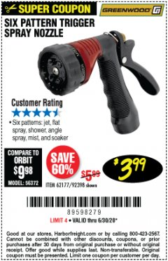 Harbor Freight Coupon TRIGGER SPRAY NOZZLE Lot No. 62177/92398 Valid: 4/10/20 - 6/30/20 - $3.99