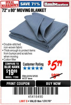 "Harbor Freight Coupon 72"" X 80"" MOVING BLANKET Lot No. 66537/69505/62418 Expired: 1/31/19 - $5.79"