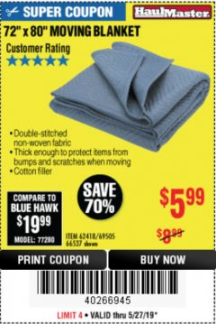 "Harbor Freight Coupon 72"" X 80"" MOVING BLANKET Lot No. 66537/69505/62418 Expired: 5/31/19 - $5.99"