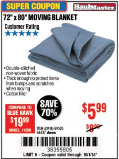 "Harbor Freight Coupon 72"" X 80"" MOVING BLANKET Lot No. 66537/69505/62418 Expired: 10/1/18 - $5.99"