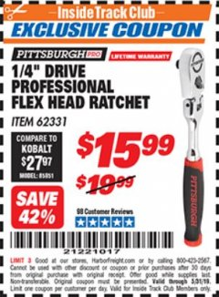 "Harbor Freight ITC Coupon 1/4"" DRIVE FLEX-HEAD RATCHET Lot No. 62331 Dates Valid: 5/3/19 - 5/31/19 - $15.99"