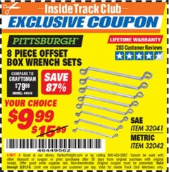 Harbor Freight ITC Coupon 8 PIECE OFFSET BOX WRENCH SETS Lot No. 32041/32042 Dates Valid: 12/31/69 - 5/31/19 - $9.99