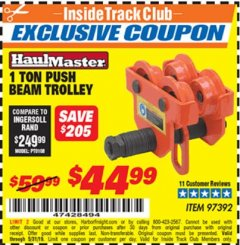 Harbor Freight ITC Coupon 1 TON PUSH BEAM TROLLEY Lot No. 97392 Dates Valid: 5/3/19 - 5/31/19 - $44.99