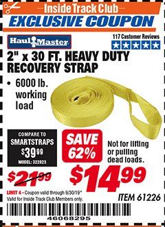 "Harbor Freight ITC Coupon 2"" x 30 FT. HEAVY DUTY RECOVERY STRAP Lot No. 61226 Expired: 9/30/19 - $14.99"