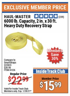 "Harbor Freight ITC Coupon 2"" x 30 FT. HEAVY DUTY RECOVERY STRAP Lot No. 61226 Expired: 1/28/21 - $15.99"