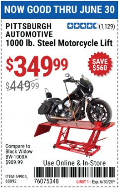Harbor Freight Coupon 1000 LB. CAPACITY MOTORCYCLE LIFT Lot No. 69904/68892 EXPIRES: 6/30/20 - $349.99