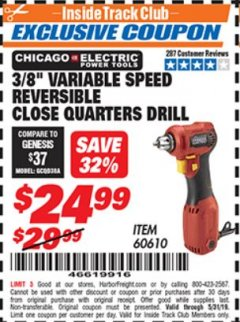 "Harbor Freight ITC Coupon 3/8"" VARIABLE SPEED REVERSIBLE CLOSE QUARTERS DRILL Lot No. 60610/92956 Dates Valid: 5/3/19 - 5/31/19 - $24.99"